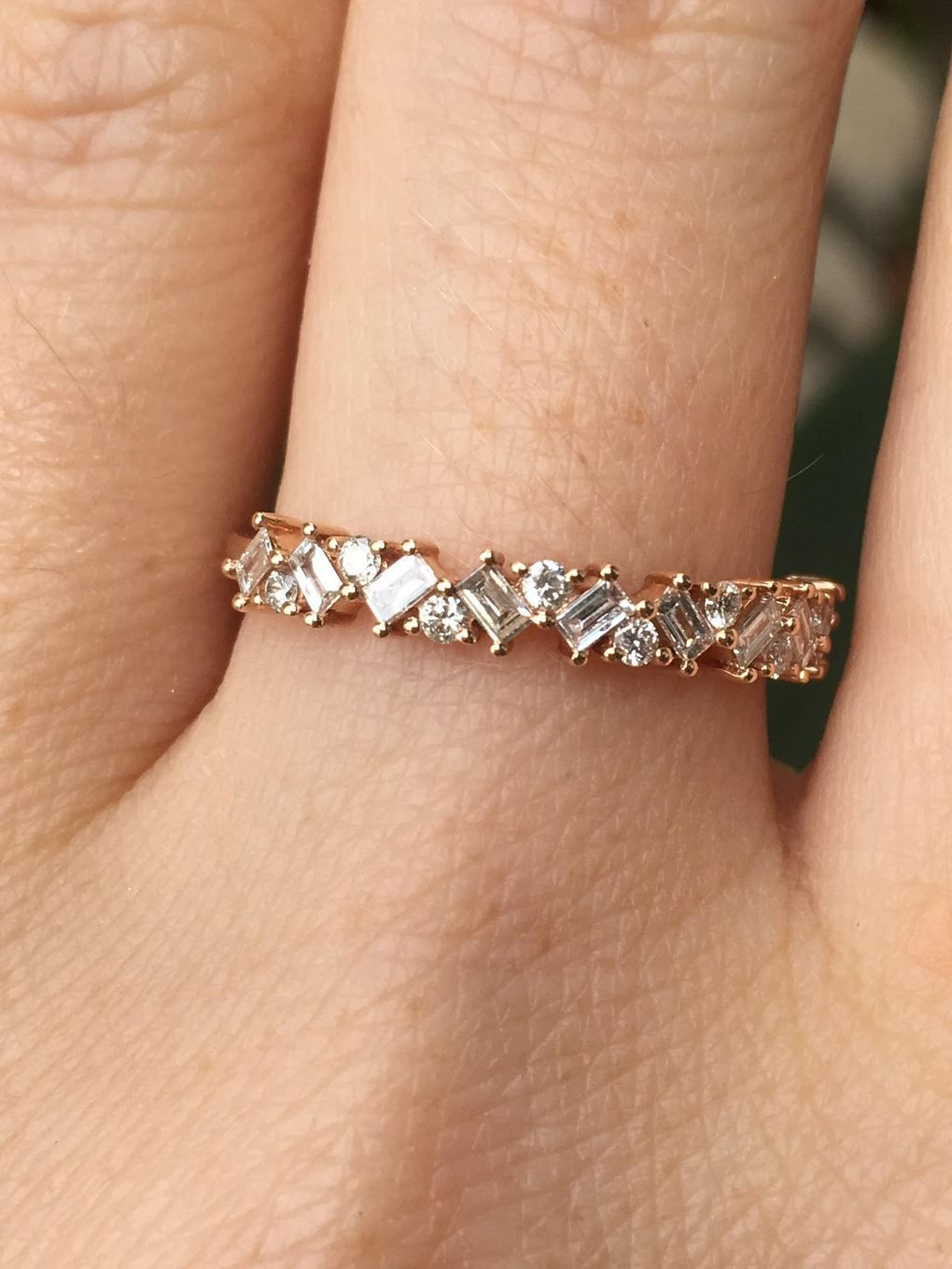 Staggered Diamond Baguette Round Half Eternity Nina Segal Jewelry Small Diamond Rings Diamond Diamond Rings Design