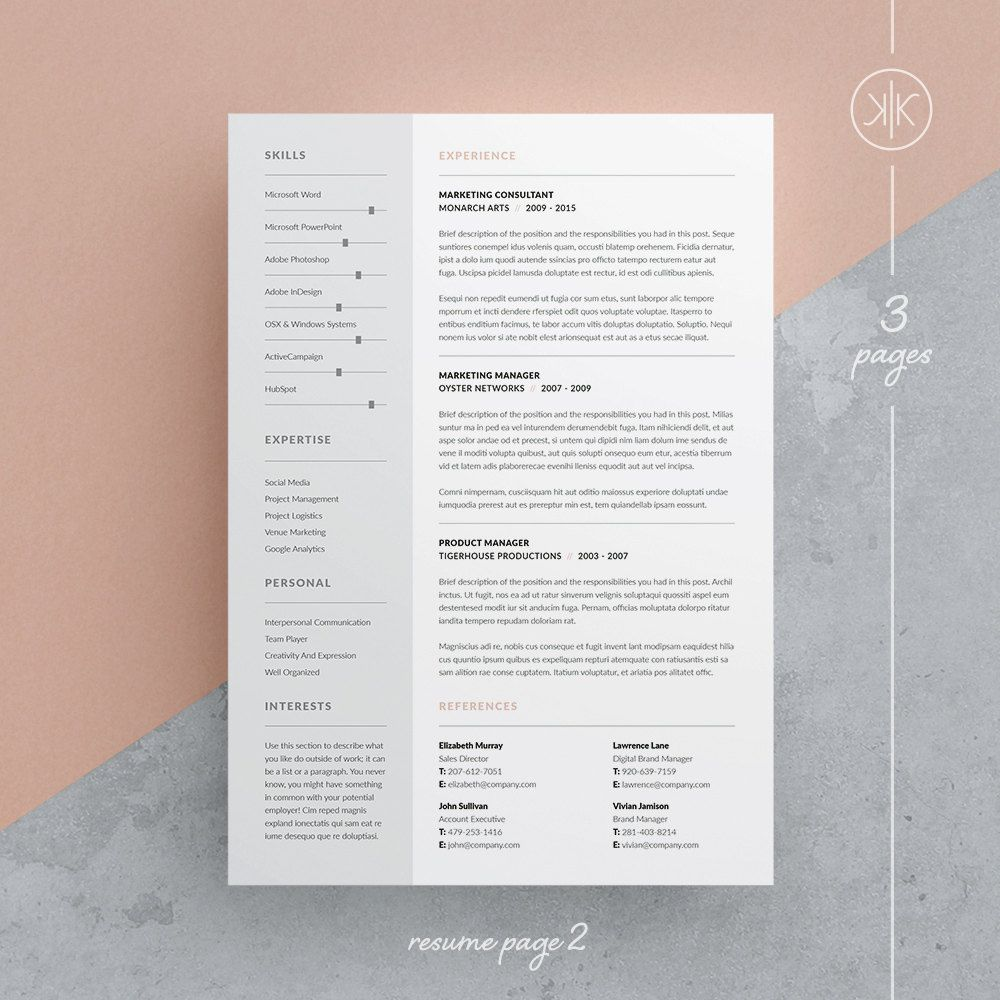 Tamara Resume/CV Template Word Photoshop InDesign | cv | Pinterest