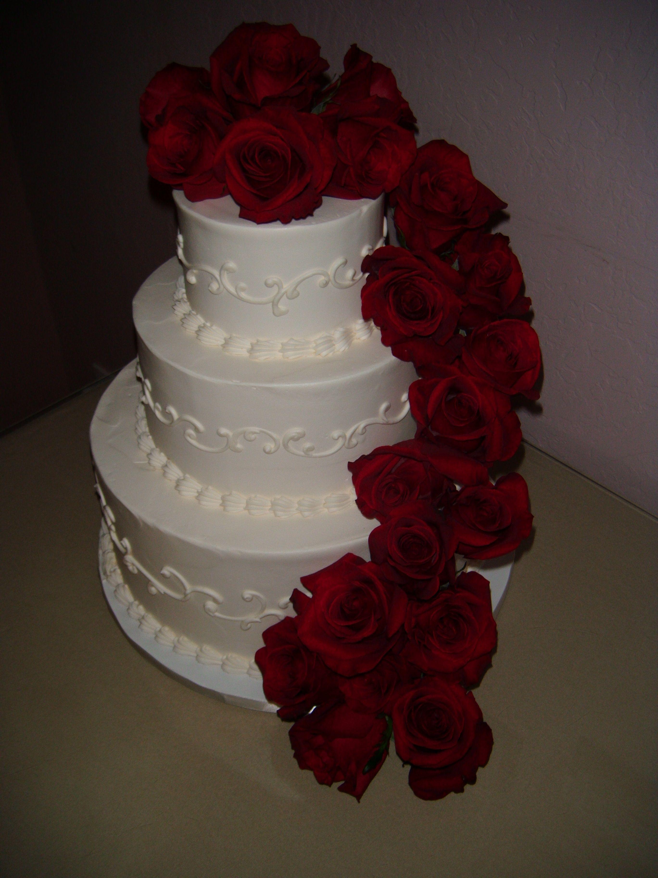 Red rose cascade wedding cake wedding cakes pinterest wedding