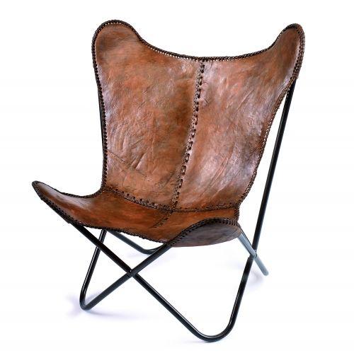 fåtölj läder brun
