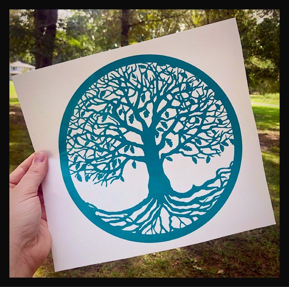 Tree of Life Zen Hippie Car Laptop Sticker Vinyl Decal ROOTED IN PEACE