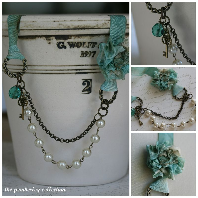 love this color and the aged color of the metal against the Aqua ribbon necklace collage