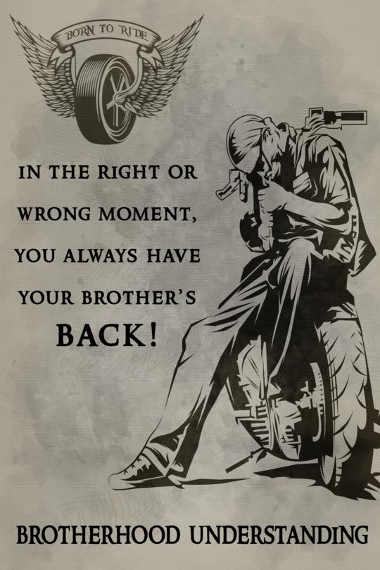 Cv83 Biker Poster Brotherhood Understanding Bike Quotes