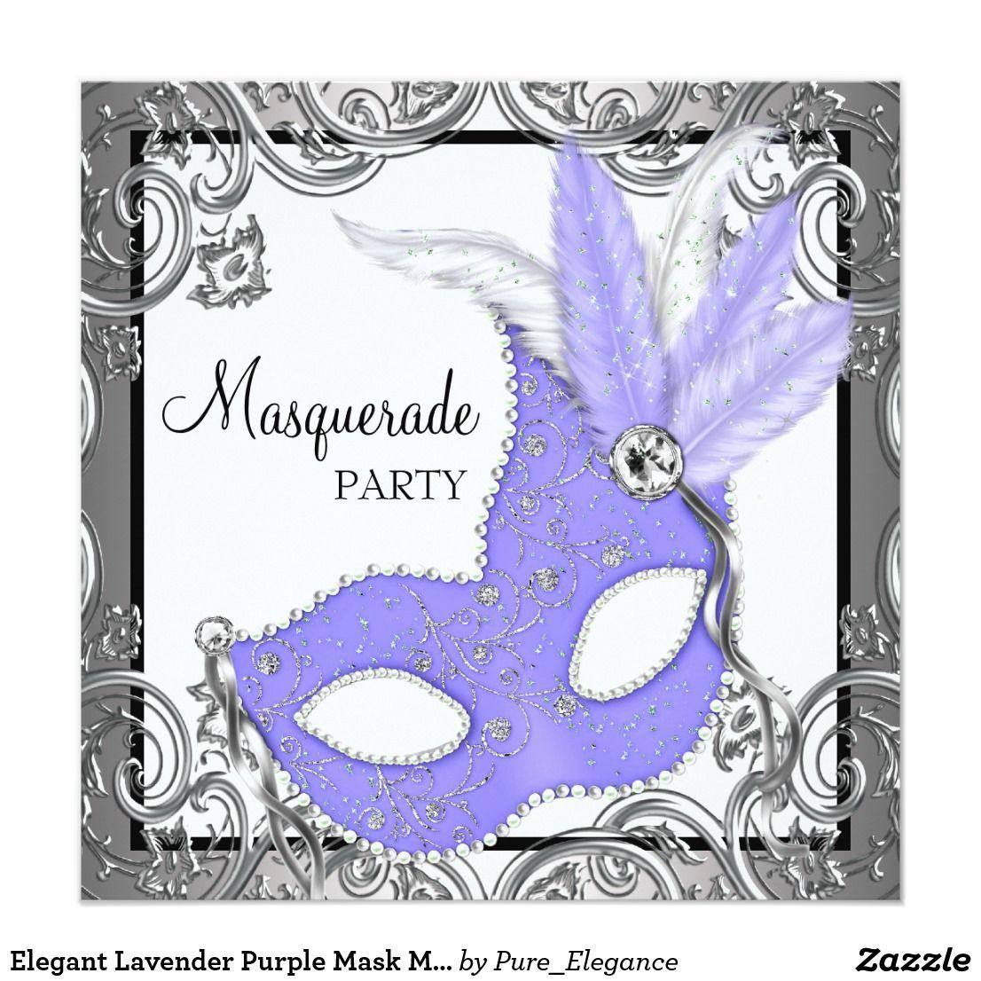 Elegant Lavender Purple Mask Masquerade Party Card | Masquerade ...