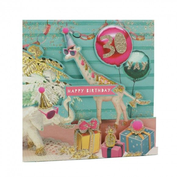 Animal party pull down 30th birthday card format Pinterest - birthday cards format
