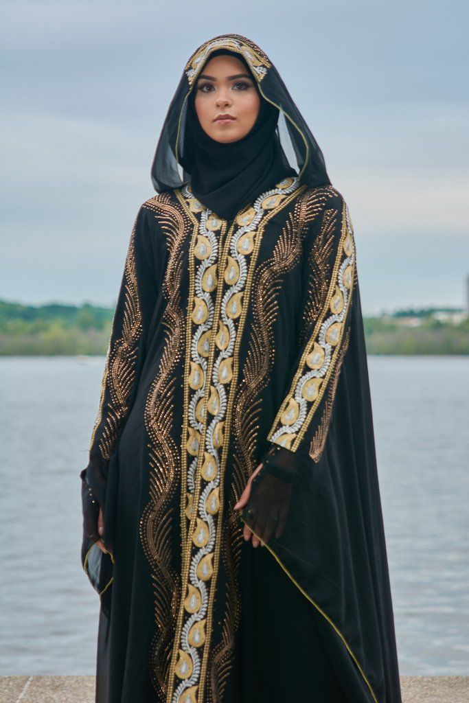 8b7b29ad1f8c8 Cardigan abaya with full embroidery on front, back, sleeves and hood. Can  be worn both open and closed. - Poly/chiffon - Hand-made - Attached hood ...