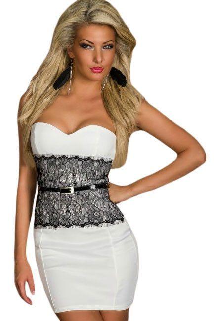 58143776743 Chicloth White Eyelash Waist Cincher Party Bodycon Dress
