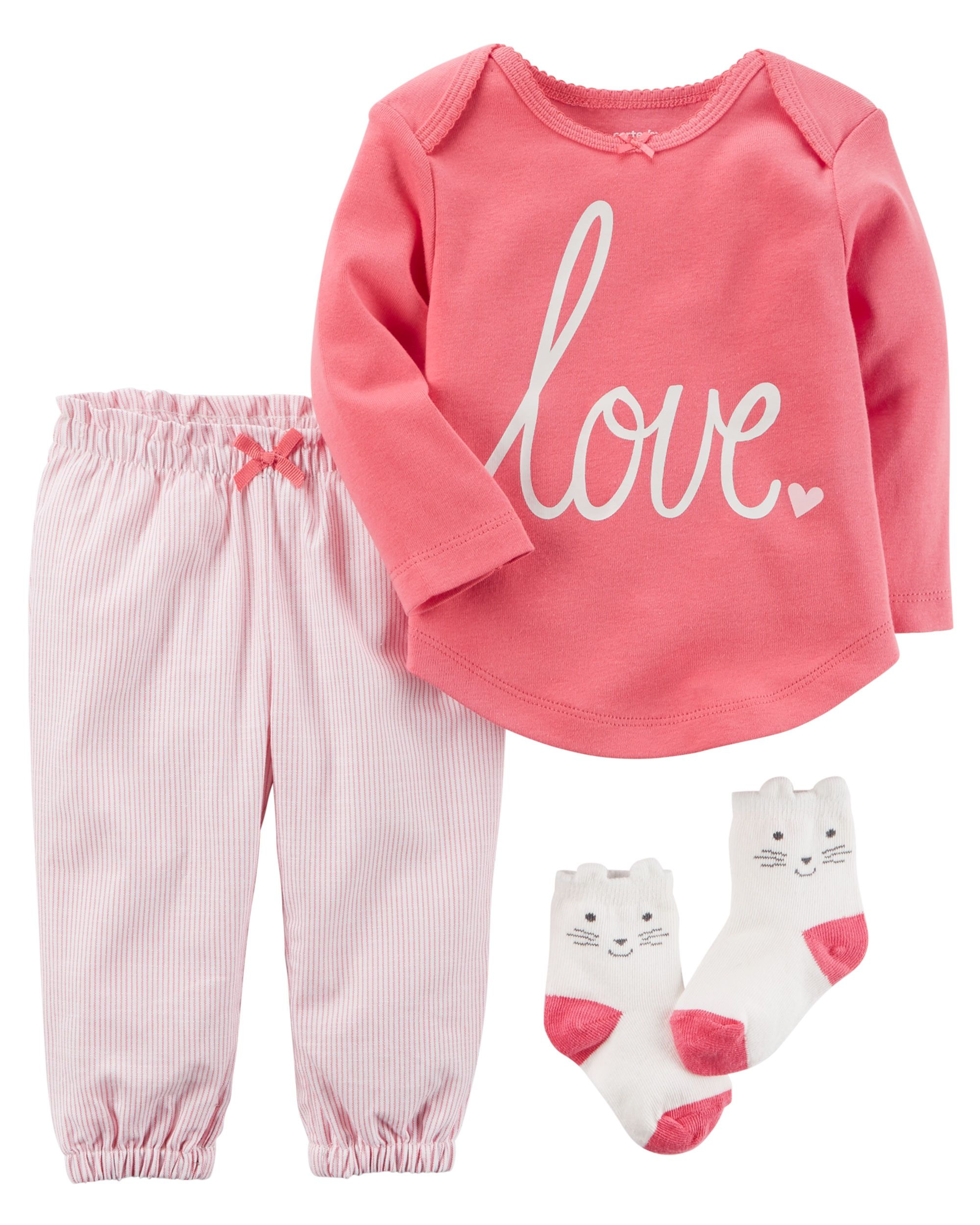 With a sweet graphic tee and striped bottoms this babysoft set