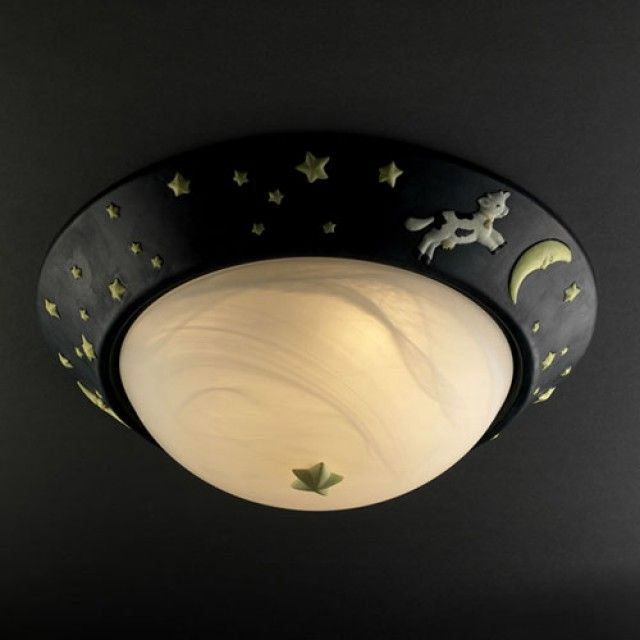 Cow Over Moon Flush Mount SKU# KID-6181 By Justice Design  Each sculpted wall sconce and ceiling fixture has been designed to bring a storybook quality into any room.