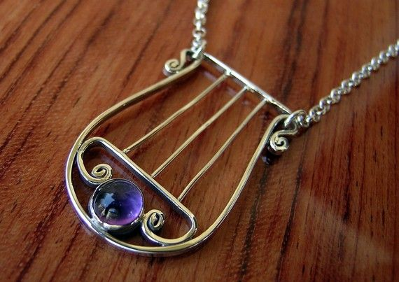Sterling silver and Amethyst handcrafted Lyre of David by Almendro