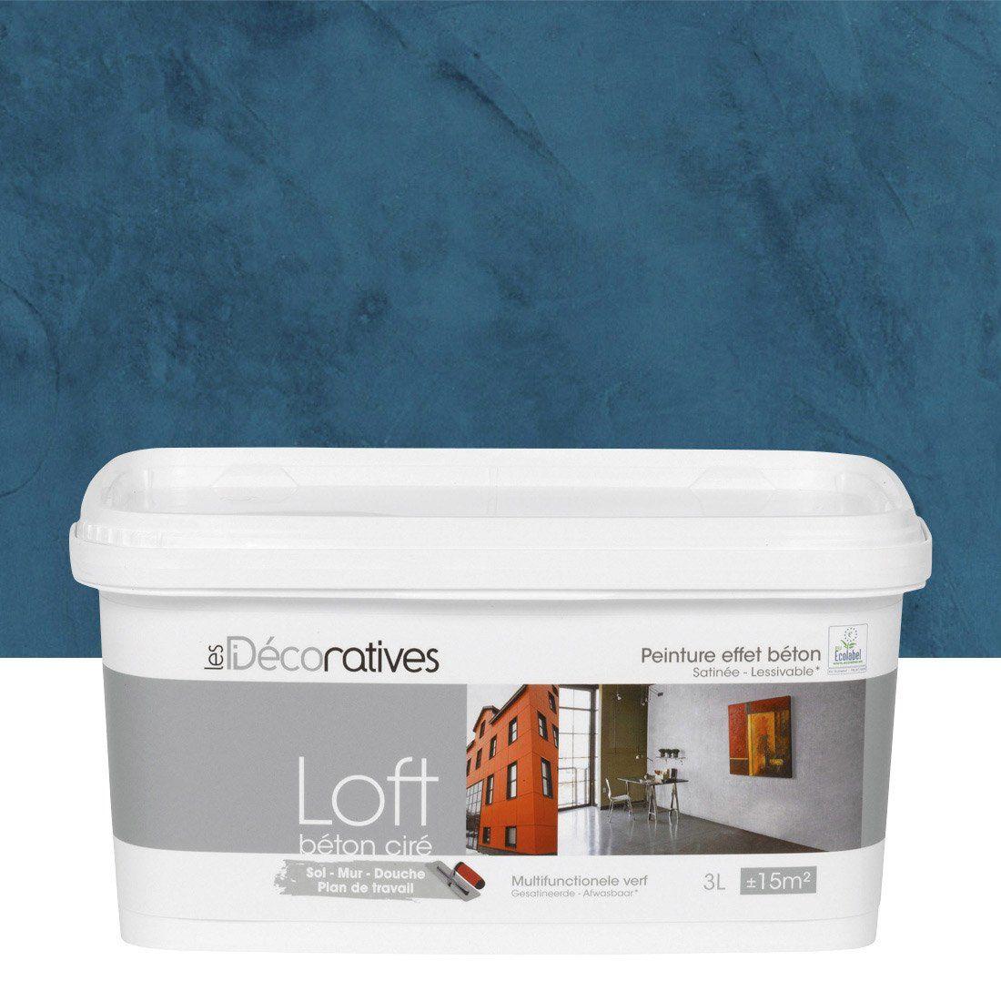 Peinture Decorative Loft Beton Cire Les Decoratives Bleu Oxyde 3 L Beton Cire Peinture Effet Beton Decoration Loft