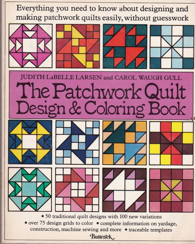 Patchwork Quilt Design and Coloring Book Larsen Gull Butterick 1977 Paperback  #Butterick