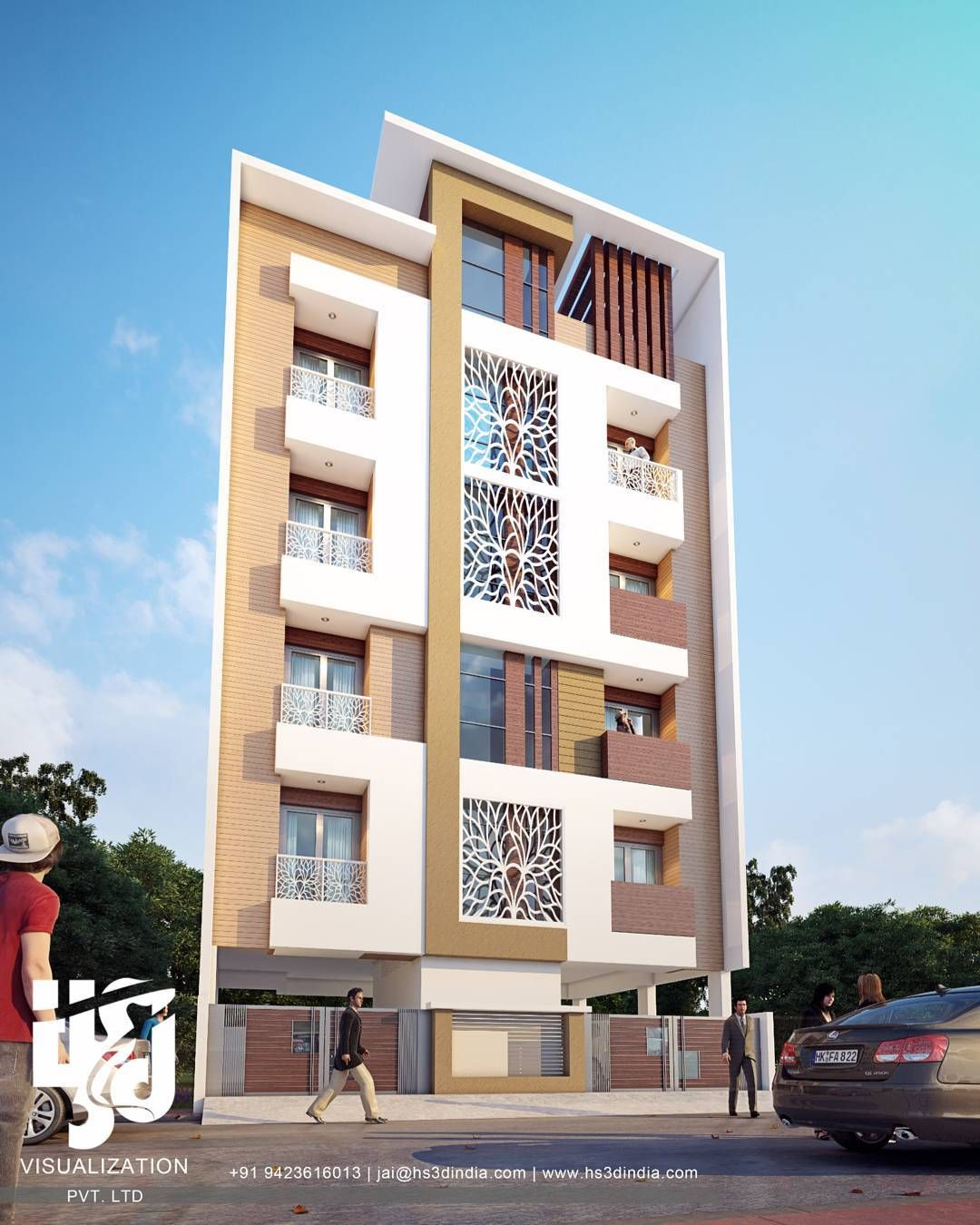 Apartment Facade: #apartment #3drendering By @hs3dindia @nirlepkaur_id