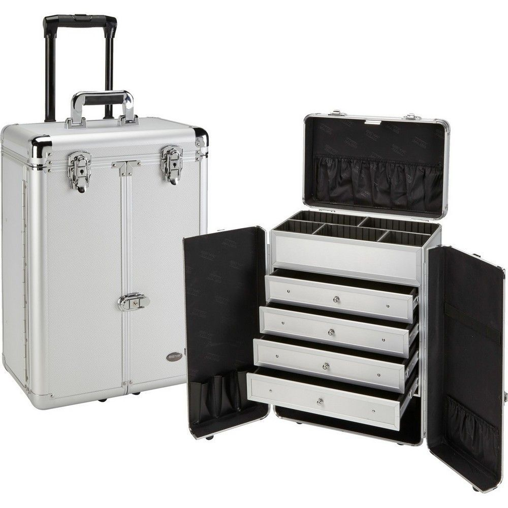 Professional Rolling Makeup Case with Drawers Rolling