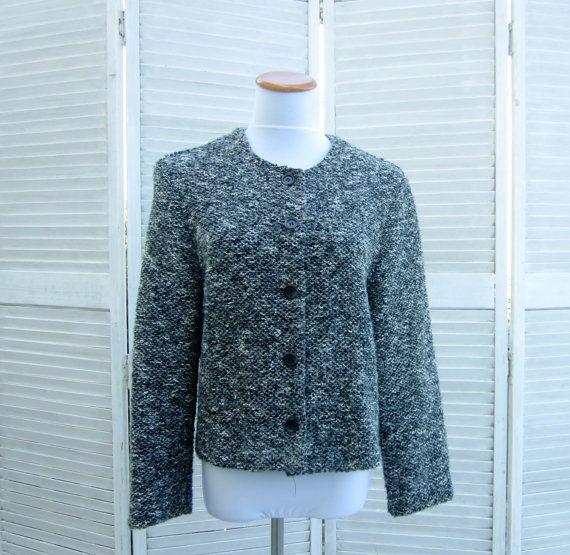 Vintage 80s Cardigan Sweater Jacket Grey Black by GroovyGirlGarb, $24.00