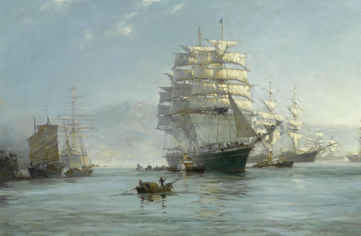 Chinese PortMorning Departure, Montague Dawson Ship
