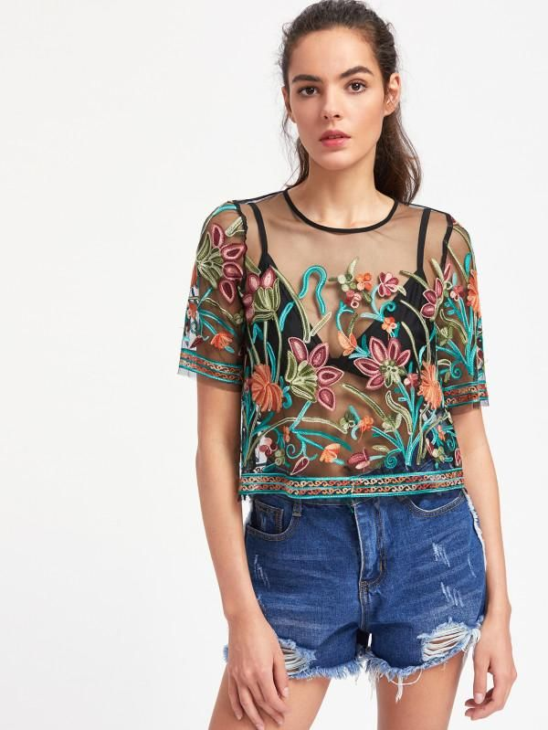 60a98ff17b16d Buttoned Keyhole Botanical Embroidered Mesh Top Multi