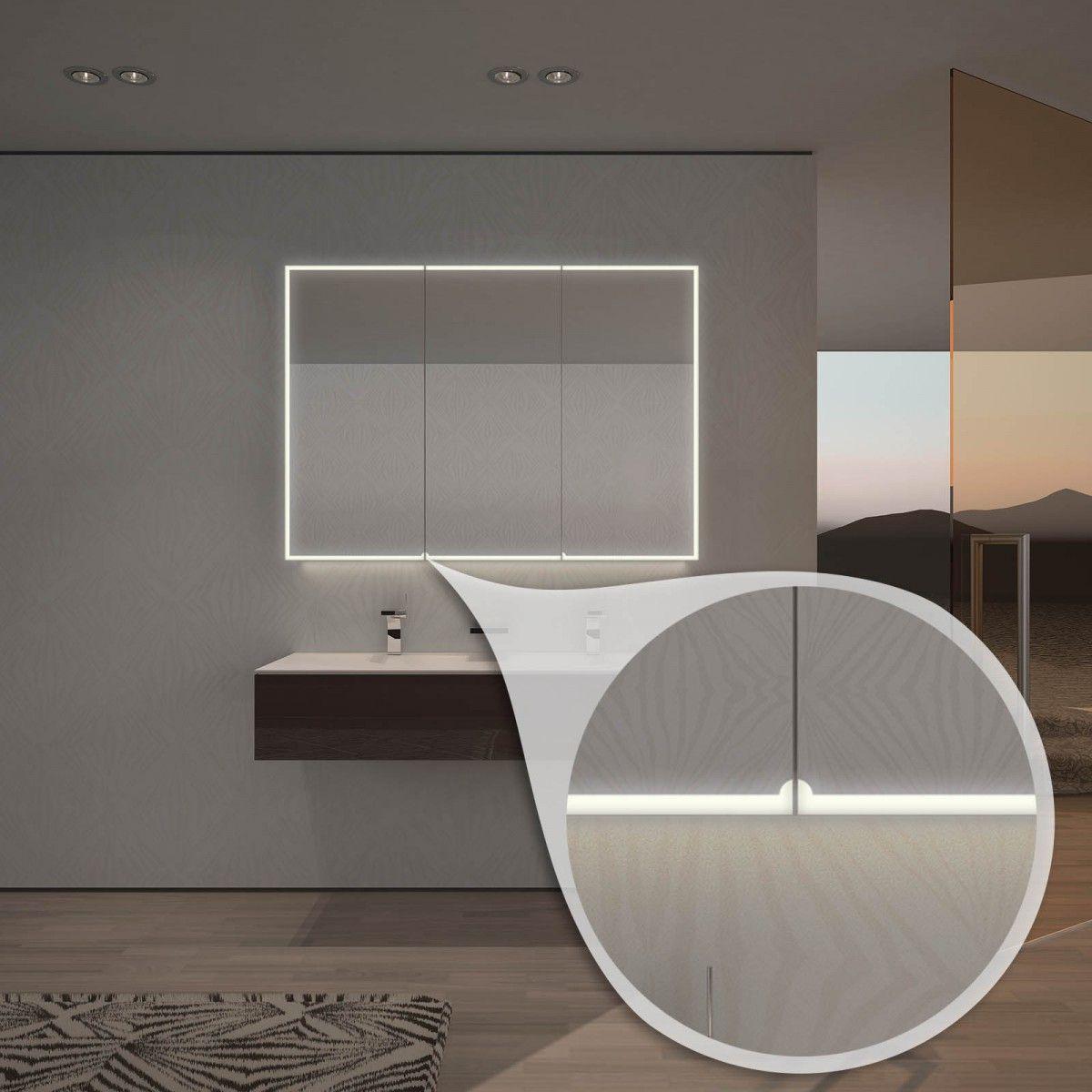 Badezimmer design beleuchtung spiegelschrank nach maß mit ledbeleuchtung aurel