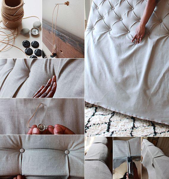 schlafzimmer gestalten modern mit einem diy kopfteil gepolstert, Schlafzimmer entwurf