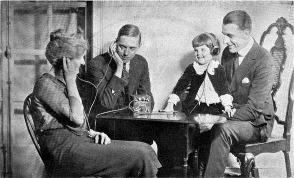 A Family Listening To A Crystal Radio In The 1920s Radio Two