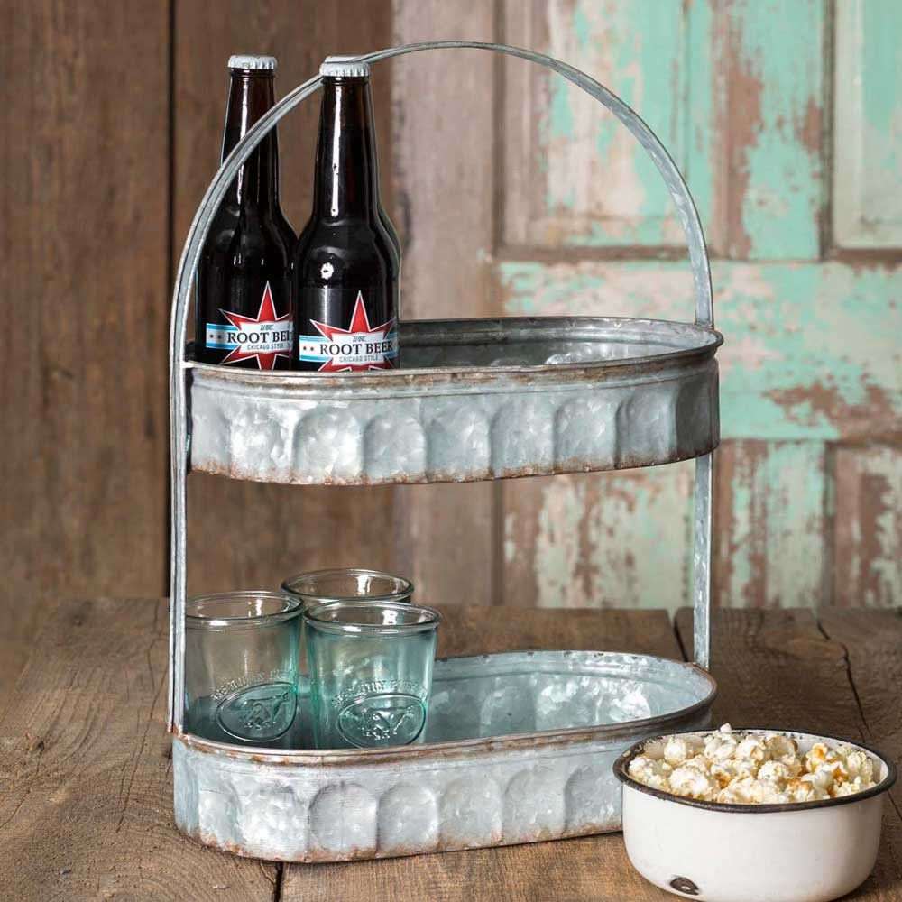 2 Tier Galvanized Oval Farmhouse Storage Tote Oval Tray Primitive Decorating Metal Trays