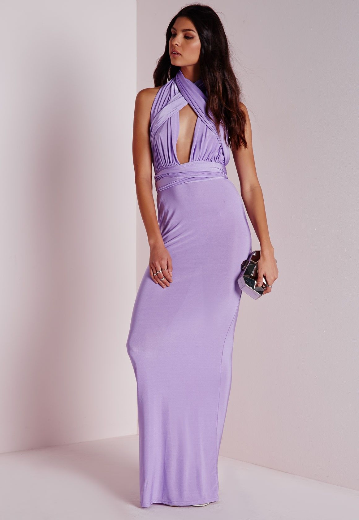 7099197371 Missguided - Do It Any Way Multiway Slinky Maxi Dress Purple ...