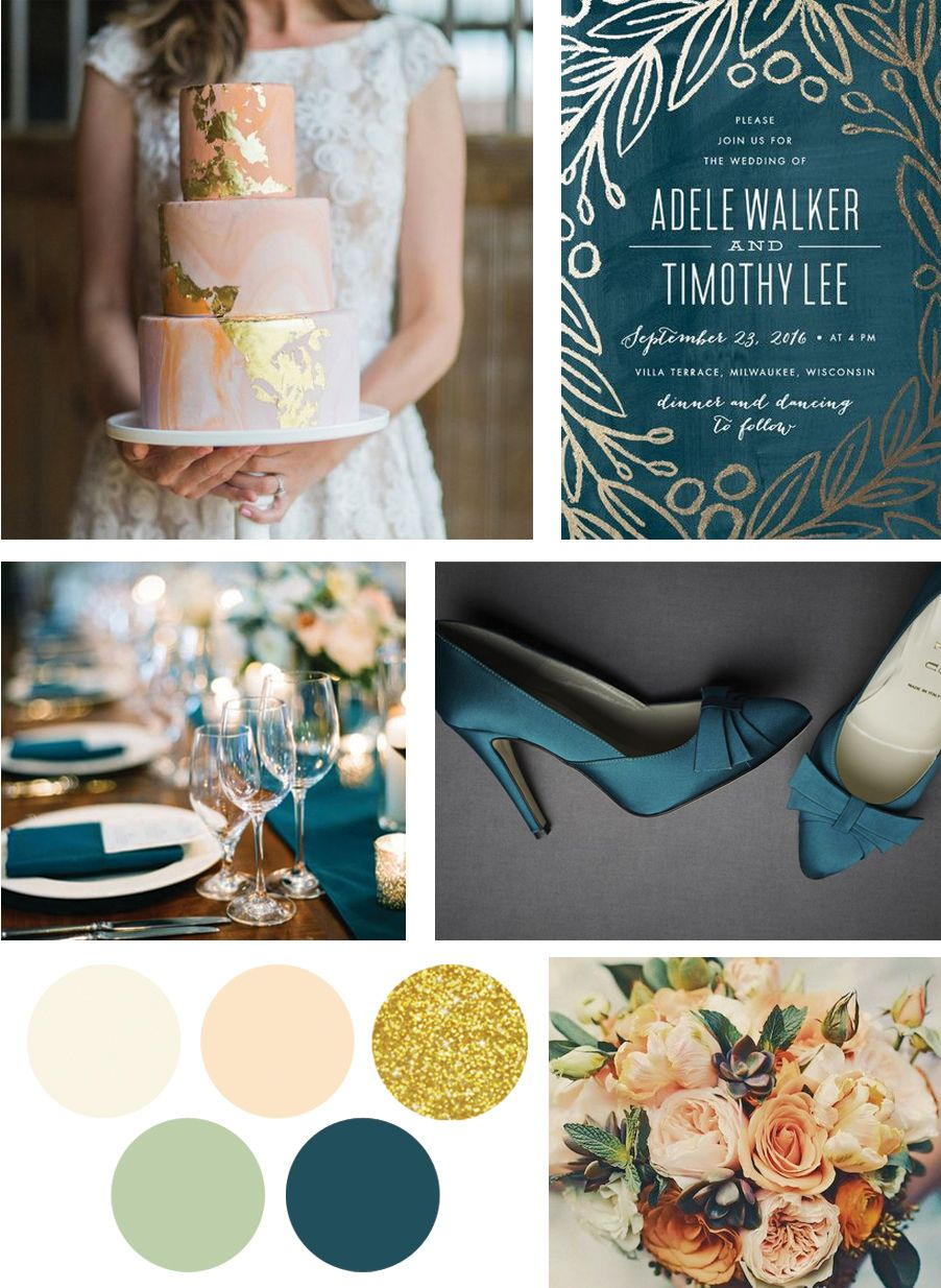 deep teal peach sage and gold