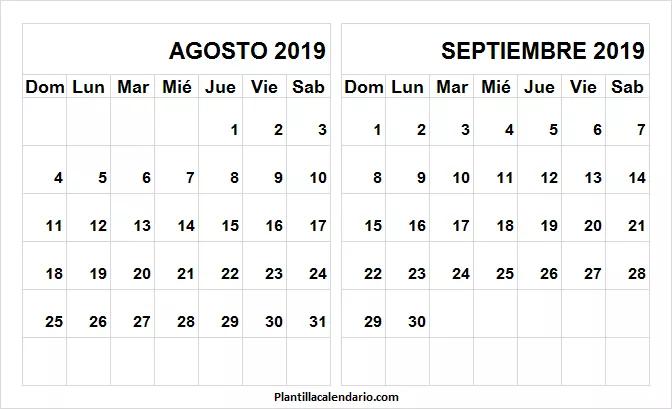 Calendario De Agosto Y Septiembre 2019.Calendario Agosto Septiembre 2019 A4 Imprimir Plantilla