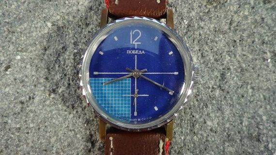 POBEDA vintage soviet mens watch in excellent condition, few scratches on case, dial and glass are intact, band is new textile and leather combination. I