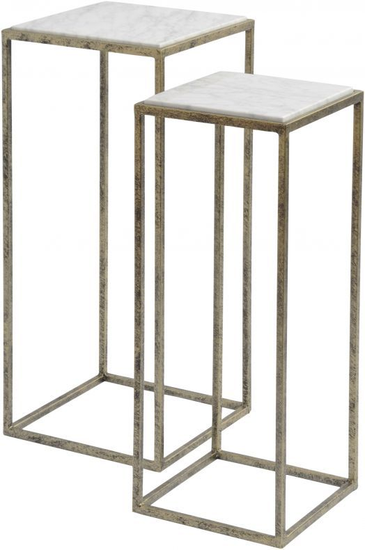libra mylas set of 2 nest tables in gold marble on exclusive modern nesting end tables design ideas very functional furnishings id=15311