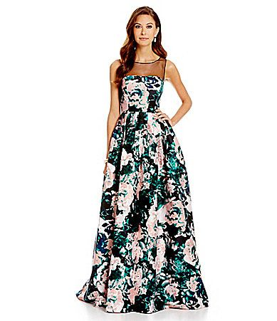Adrianna Papell Sleeveless Floral Illusion Gown Dillards Dresses