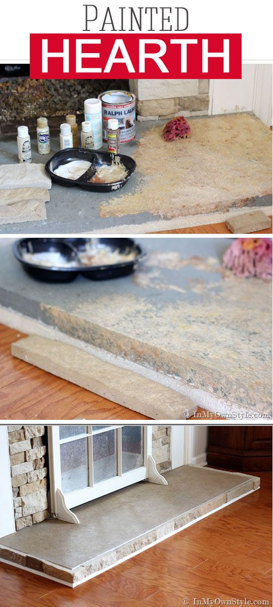How to Paint a Concrete Hearth to Look Like Stone | Painting ...