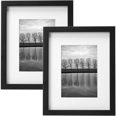 Better Homes Gardens Gallery 8 X 10 Matted For 5 X 7 Picture Frame Black Set Of 2 Walmart Com Gallery Frame Set Better Homes Gardens Wood Picture Frames