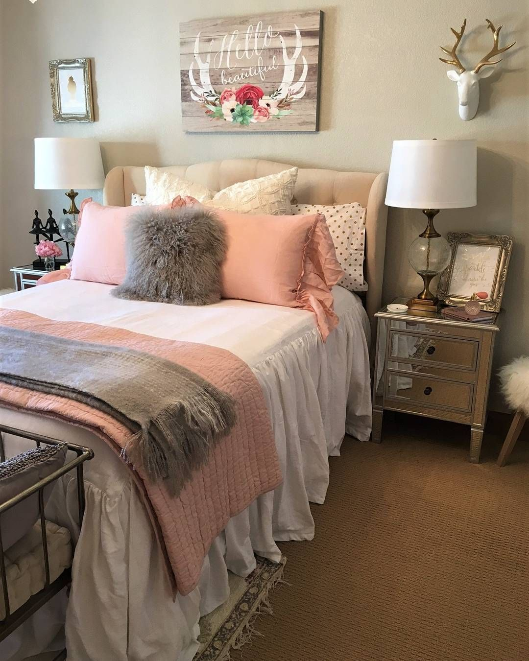 we re feeling pretty in pink with this stunning bedroom design shoutout to our awesome on grey and light pink bedroom decorating ideas id=81746