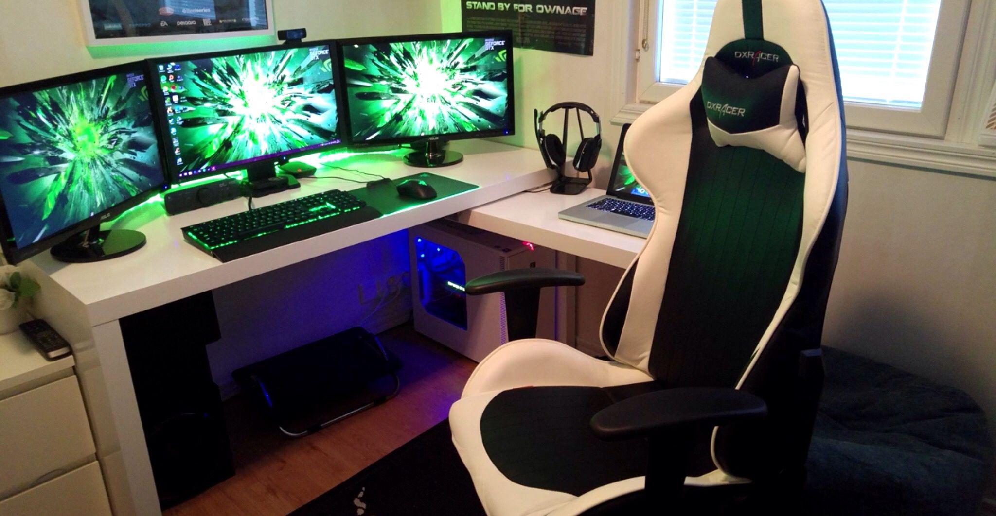 Green, Black, And White Triple Monitor Setup Striped