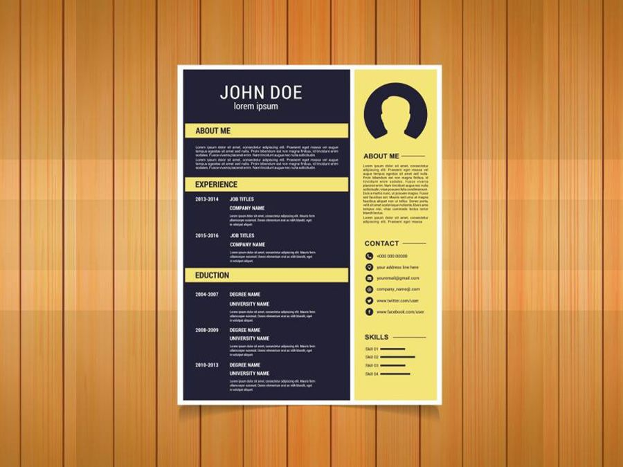 Free Flat Resume Template With Yellow Color Scheme For Your Next Job Opportunity This Free Resume Template Ready Resume Template Resume Yellow Colour Scheme