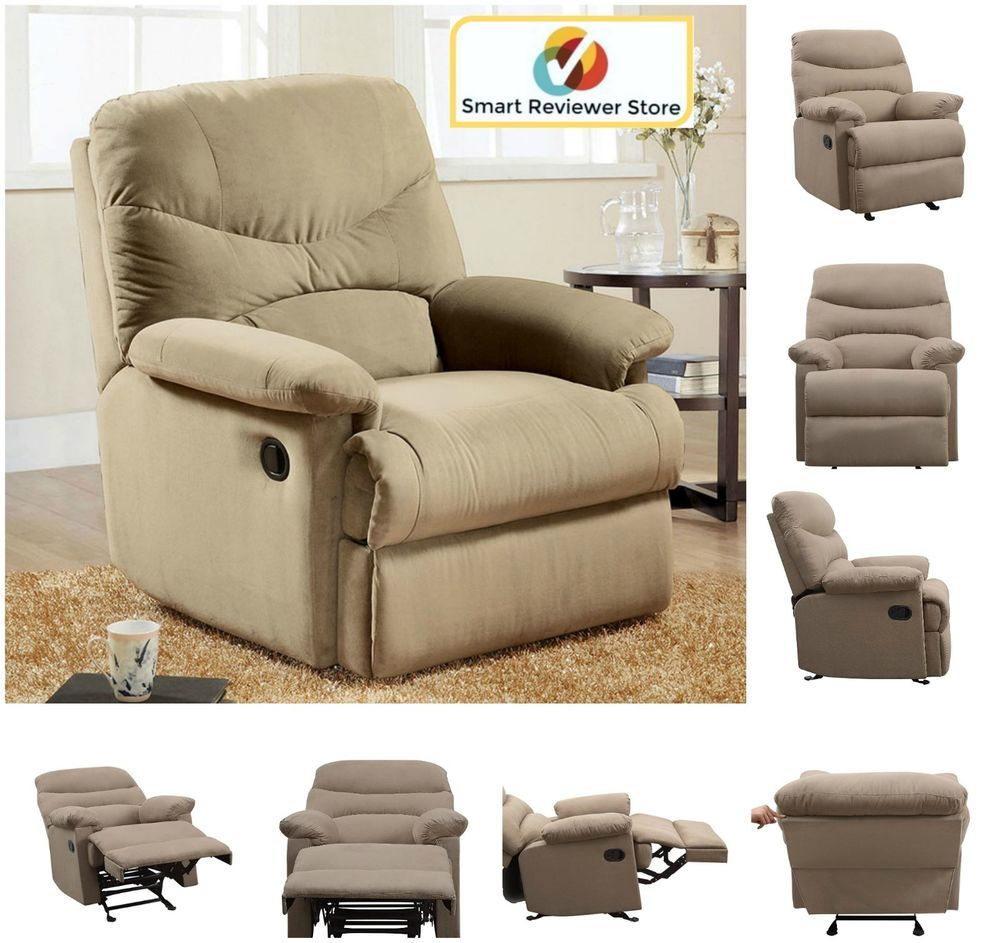 Microfiber rv recliner chair adjustable overstuffed furniture wide arm beige new acmefurniture contemporary