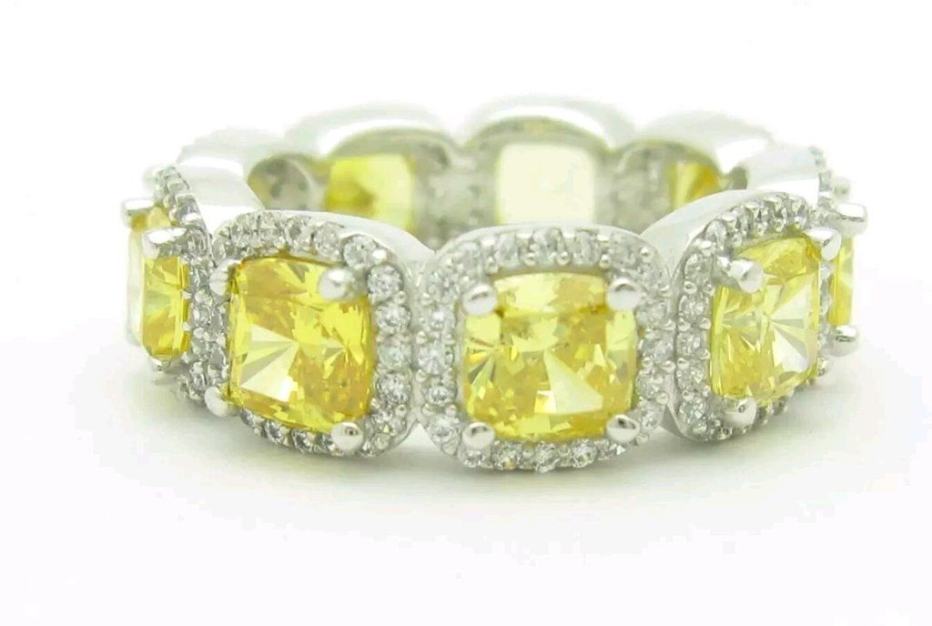 Yellow & White Sapphire Platinum over 925 Solid Sterling Silver Eternity Band Ring Sizes 6-8