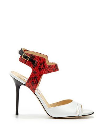 JIMMY CHOO Marcia Snake and Patent Ankle-Wrap Sandal