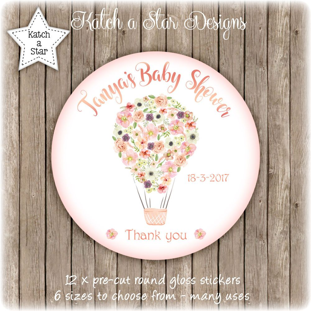 Floral hot air balloon baby shower personalised round gloss stickers