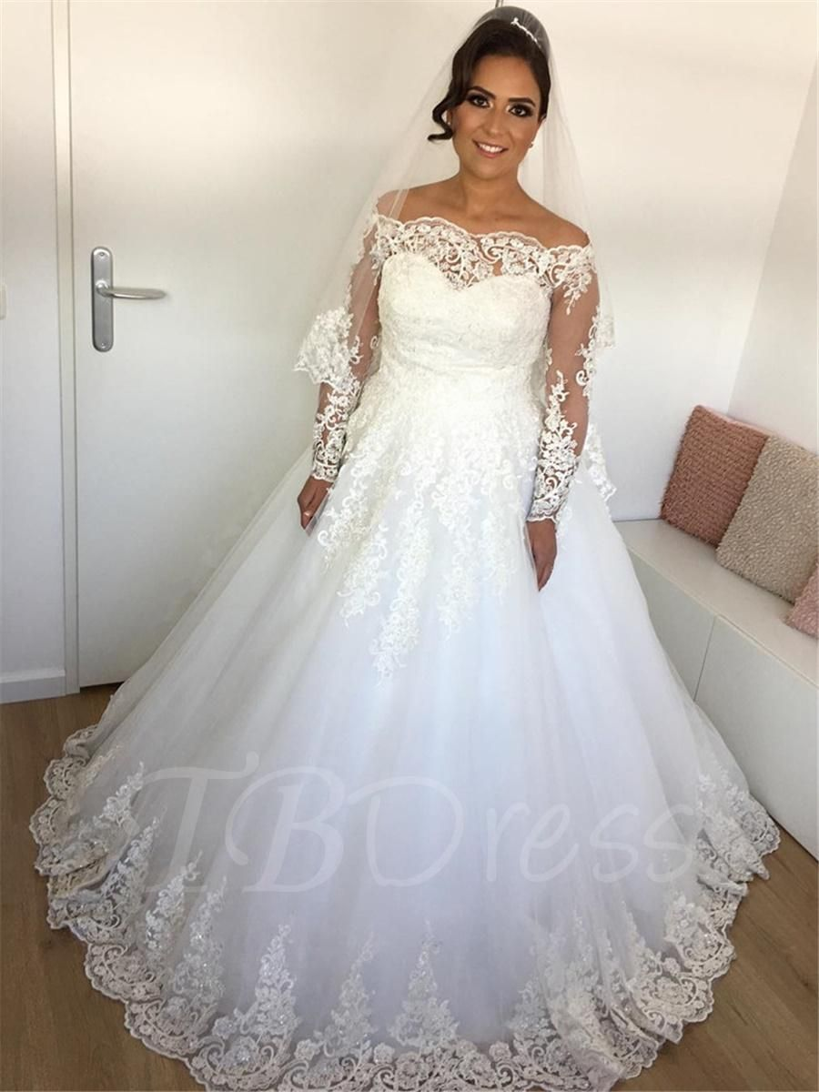 Long sleeves appliques off the shoulder wedding dress wedding