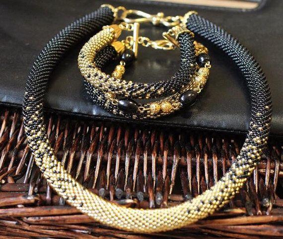Black gold Beaded necklace Bead crochet Rope Bead Crochet necklace Original bead set Bead black bracelet Beaded set jewelry Beadwork necklac