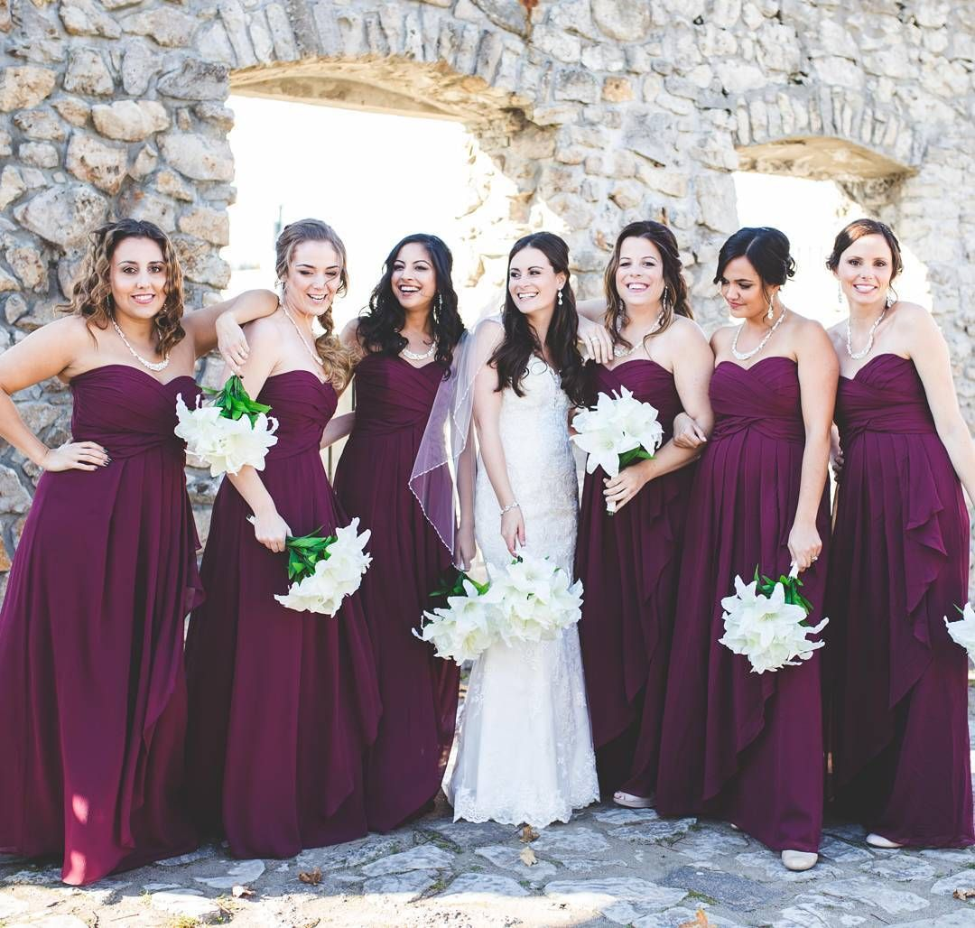Davids bridal bridesmaids in long strapless ruffle drape burgundy davids bridal bridesmaids in long strapless ruffle drape burgundy bridesmaid dresses photo by katelyn debus ombrellifo Gallery