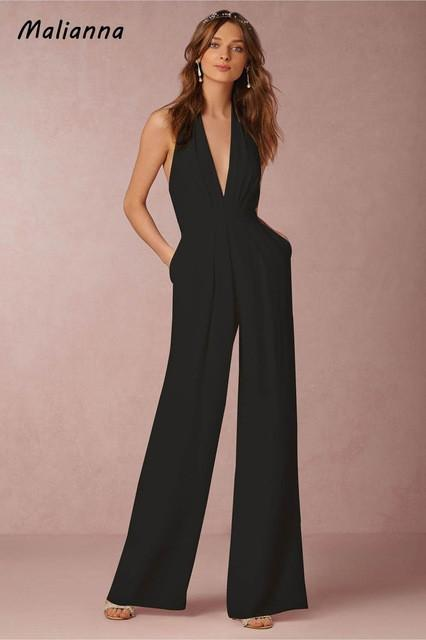 d8425982b0 Elegant Deep V-Neck Sleeveless Summer Slim Sashes Pockets Jumpsuit Rompers  Women Backless Zipper Wide Overalls Fashion Femme-JetSet-JetSet