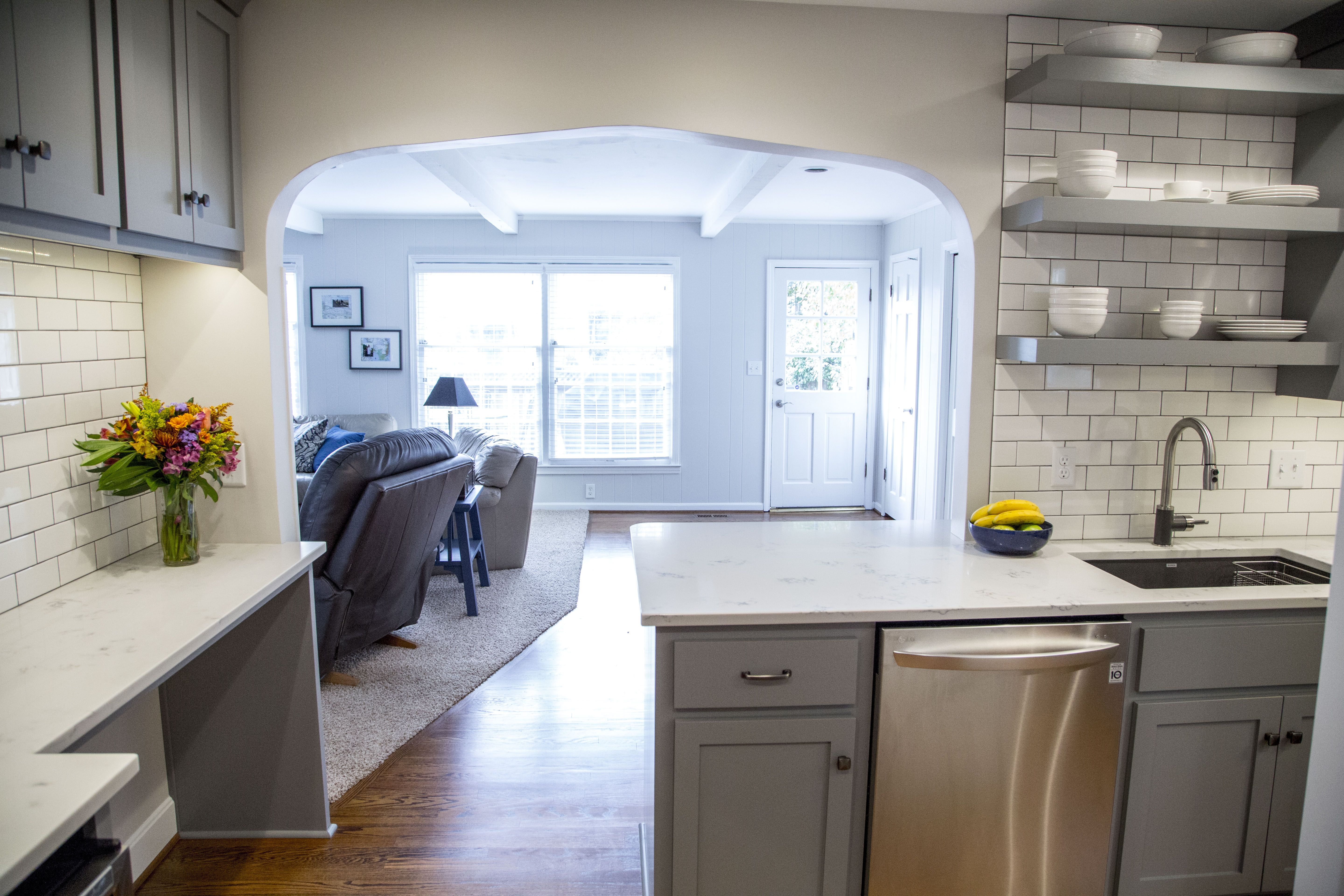 Brite White Subway Tile 3x6, Classic French Gray Shaker Cabinets ...