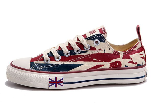 cfb9ccc2516 Converse UK Flag For London Olympic Beige Red Blue Printed Low Tops Canvas  Shoes