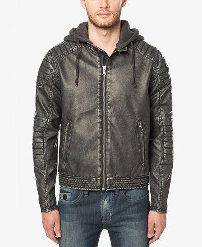 ca4730ca3 Buffalo David Bitton Men's Faux Leather Hooded Moto Jacket | My Style