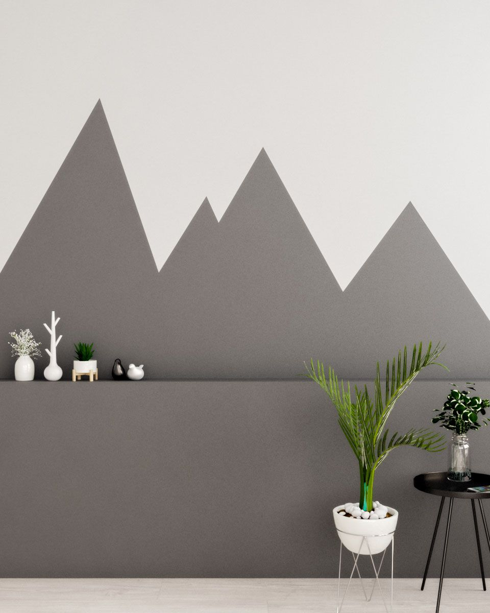 Gray And White Scandinavian Style Wall Paint Ideas In 2020 Geometric Wall Paint Creative Wall Painting Wall Painting
