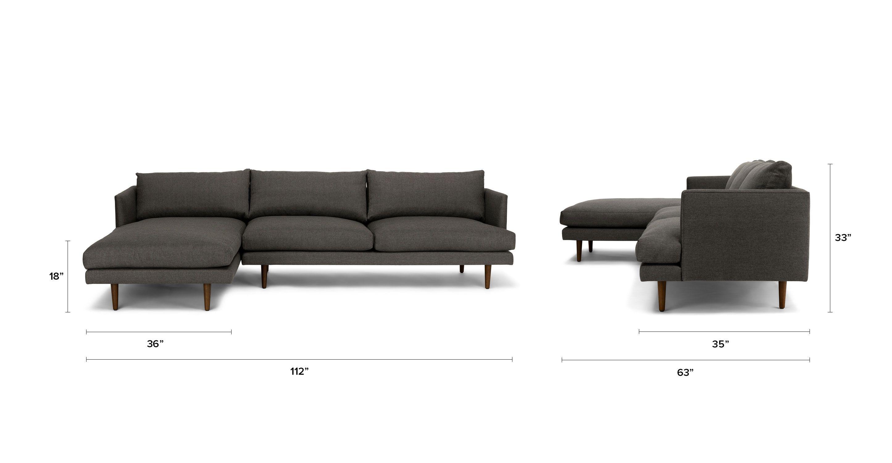 Dark Gray Left Sectional Sofa Upholstered
