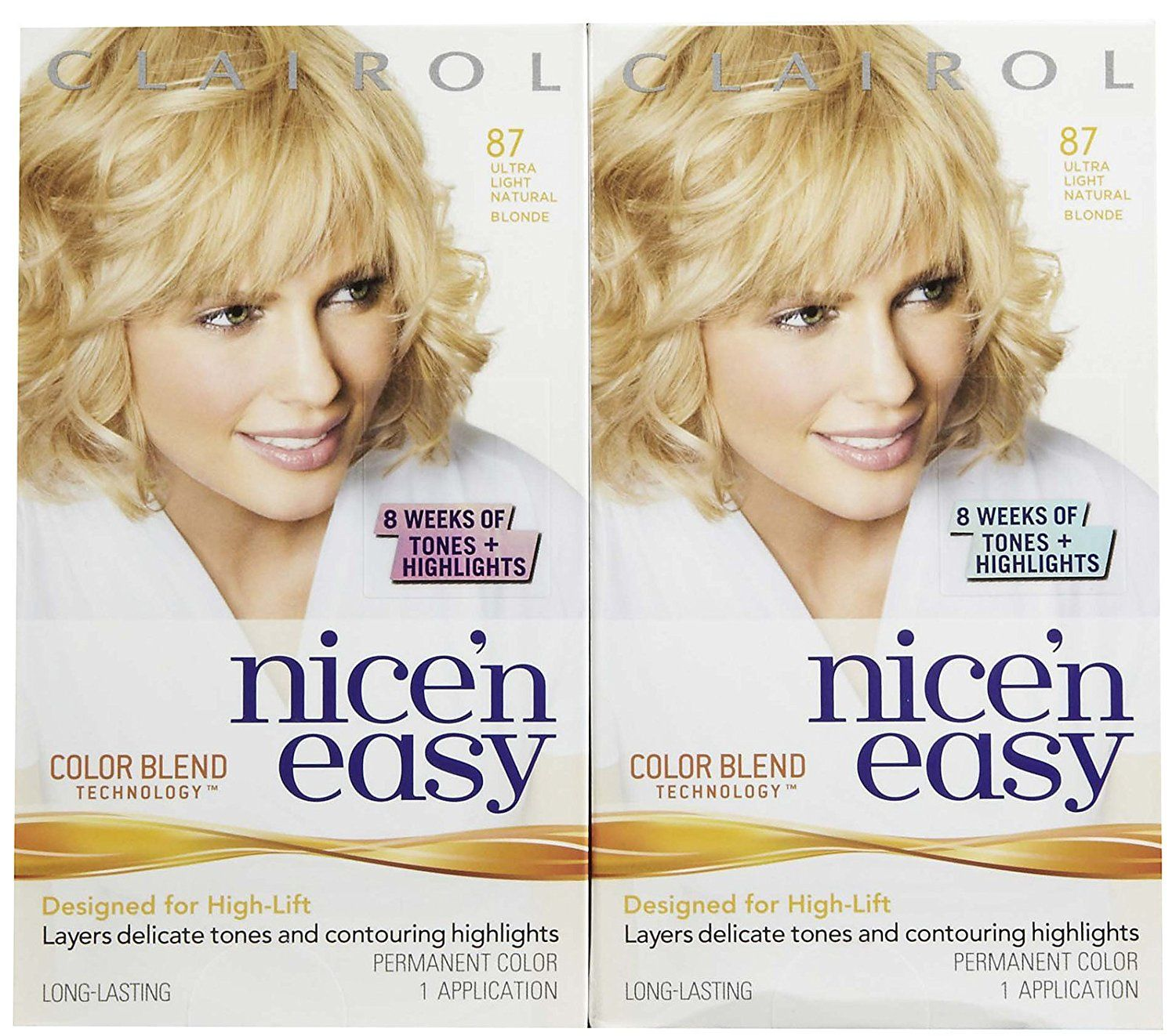 Clairol Nice \'n Easy Hair Color, Ultra Light Natural Blonde (087), 2 ...